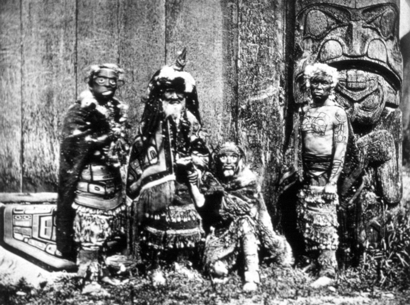 Haida Chief Xa'na of Grizzly Bear House with tattooed hereditary ...